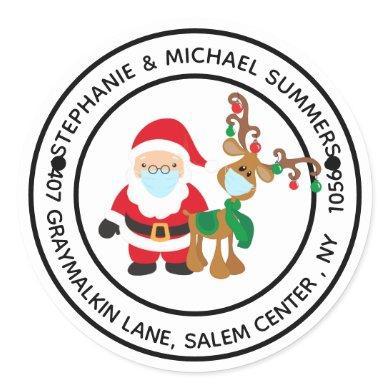 2020 Covid Christmas Santa Return address Classic Round Sticker