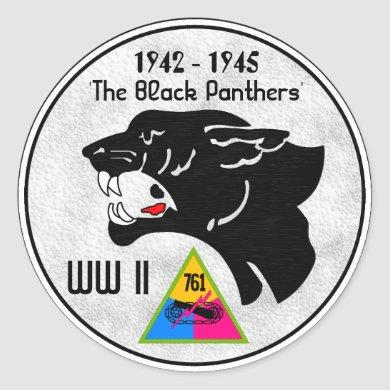 761st TANK BATTALION, BLACK PANTHERS, WW II Classic Round Sticker