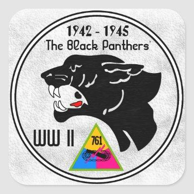 761st TANK BATTALION, BLACK PANTHERS, WW II Square Sticker