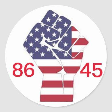 86 45 and #resist classic round sticker