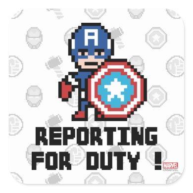 8Bit Captain America - Reporting For Duty! Square Sticker