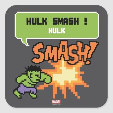 8Bit Hulk Attack - Hulk Smash! Square Sticker