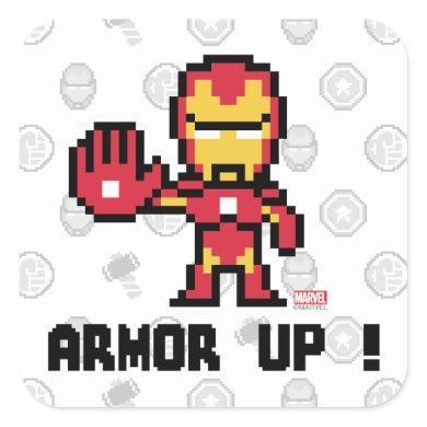8Bit Iron Man - Armor Up! Square Sticker