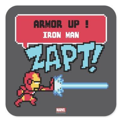 8Bit Iron Man Attack - Armor Up! Square Sticker