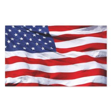 American Flag Rectangular Stickers