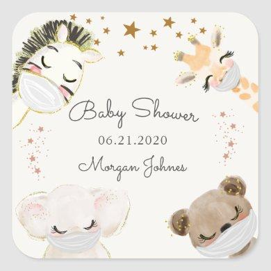 animal face mask baby shower monogram square sticker