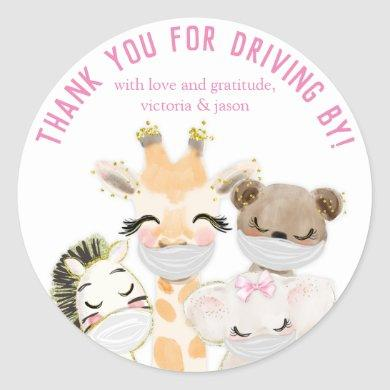 Animals Masks Covid Drive By Baby Shower Stickers