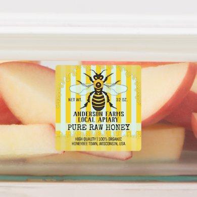 Apiary Bee Honey Jar Honeybee Striped Business Labels