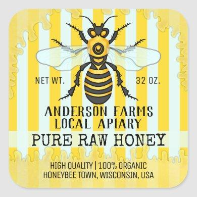 Apiary Bee Honey Jar Labels | Honeybee Striped