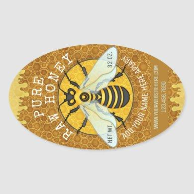 Apiary Honeybee Honey Jar Labels | Honeycomb Bee