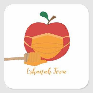 Apple and Honey with Orange Face Mask Square Sticker