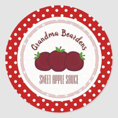 Apples And Polka Dot Personalized Stickers
