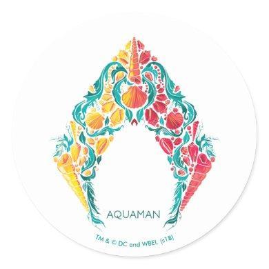 Aquaman | Aquaman & Mera Themed Seashell Logo Classic Round Sticker