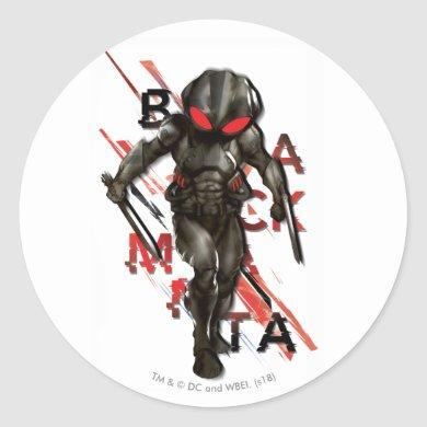 Aquaman | Black Manta Scattered Typography Graphic Classic Round Sticker