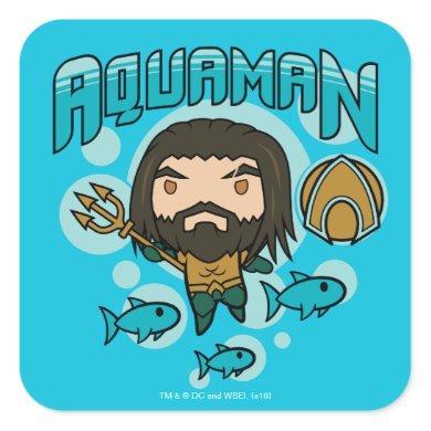 Aquaman | Chibi Aquaman Undersea Graphic Square Sticker