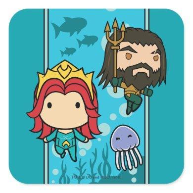 Aquaman | Chibi Mera & Aquaman Undersea Graphic Square Sticker
