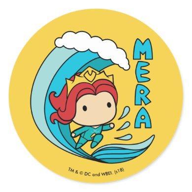 Aquaman | Chibi Mera Riding Wave Graphic Classic Round Sticker