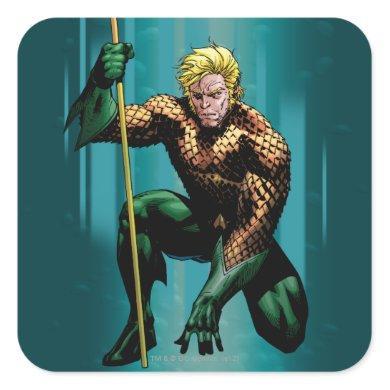 Aquaman Crouching Square Sticker