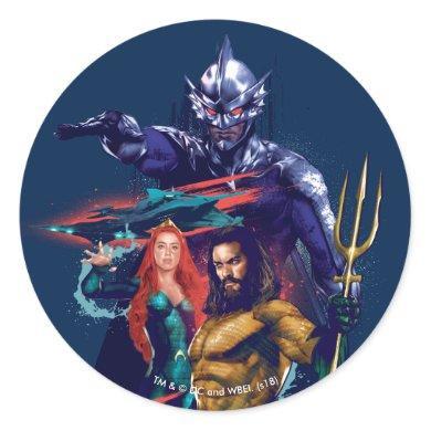 Aquaman | King Orm Versus Mera & Aquaman Classic Round Sticker