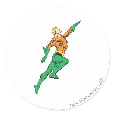 Aquaman Leaps Up Classic Round Sticker