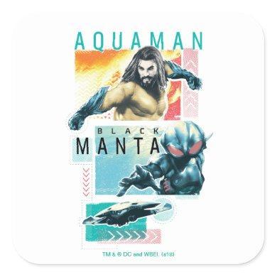 Aquaman | Modernist Aquaman & Black Manta Graphic Square Sticker