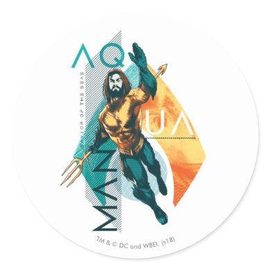 Aquaman   Modernist Aquaman Collage Classic Round Sticker