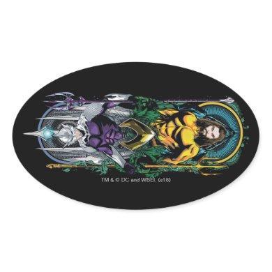 Aquaman | Orin & Orm Reversible Art Nouveau Panel Oval Sticker