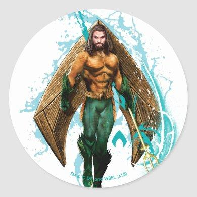 Aquaman | Prince Orin With Aquaman Logo Classic Round Sticker