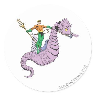 Aquaman Rides Seahorse Classic Round Sticker
