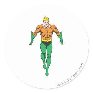 Aquaman Runs Classic Round Sticker