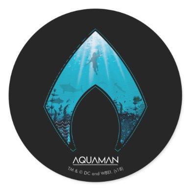 Aquaman | See Through Aquaman Logo Ocean Graphic Classic Round Sticker
