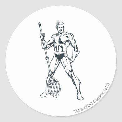 Aquaman with Pitchfork BW Classic Round Sticker