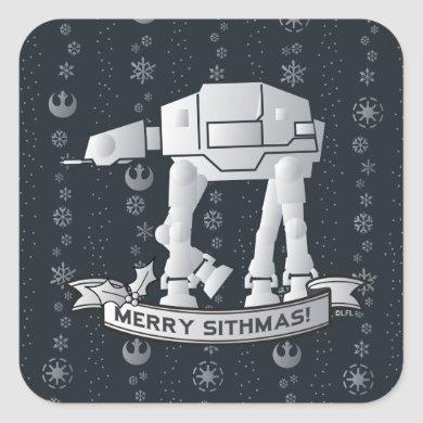 "AT-AT Walker ""Merry Sithmas!"" Square Sticker"