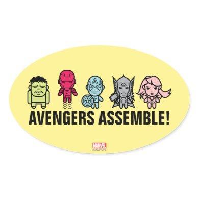 Avengers Assemble - Stylized Line Art Oval Sticker