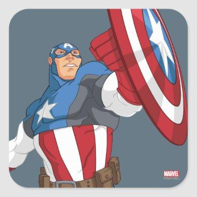Avengers Cartoon Captain America Character Pose Square Sticker
