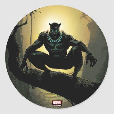 Avengers Classics | Black Panther In Tree Classic Round Sticker