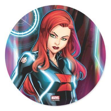 Avengers Classics | Black Widow Neon Glow Classic Round Sticker