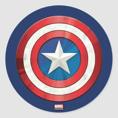 Avengers Classics | Captain America Brushed Shield Classic Round Sticker