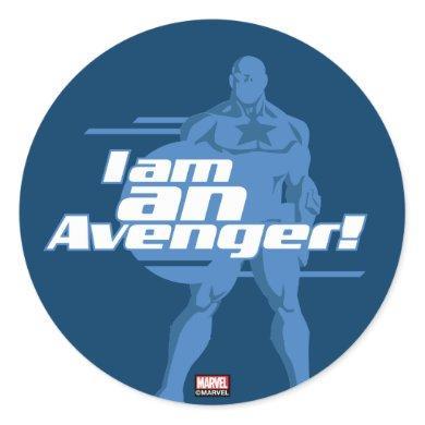 "Avengers Classics | Captain America ""I Am"" Art Classic Round Sticker"