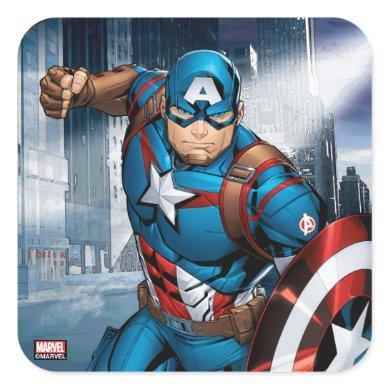 Avengers Classics | Captain America Runs Forward Square Sticker