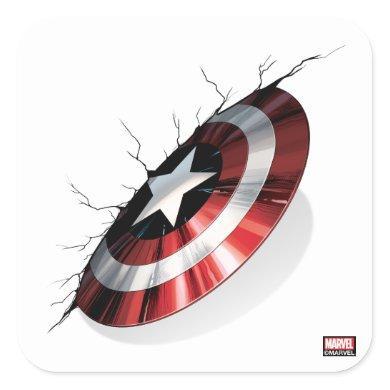 Avengers Classics | Captain America Shield Struck Square Sticker
