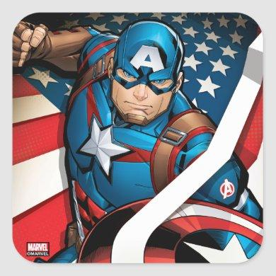 Avengers Classics | Captain America With Stripes Square Sticker