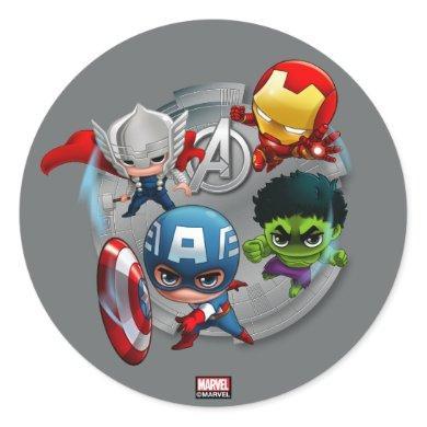 Avengers Classics | Chibi Avengers Assembled Classic Round Sticker