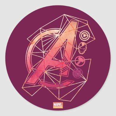 Avengers Classics | Geometric Avengers Icons Classic Round Sticker