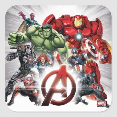 Avengers Classics | Glowing Logo Avengers Group Square Sticker