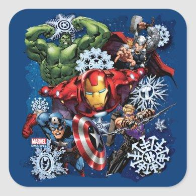 Avengers Classics | Holiday Snowflake Graphic Square Sticker