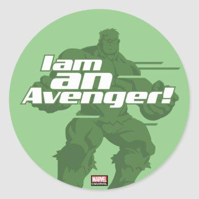 "Avengers Classics | Hulk ""I Am"" Graphic Classic Round Sticker"