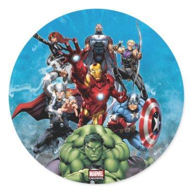 Avengers Classics | Hulk Leading Avengers Classic Round Sticker