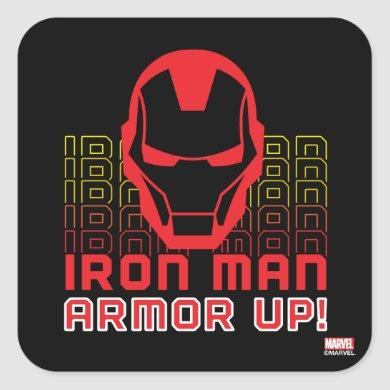 "Avengers Classics | Iron Man ""Armor Up"" Art Square Sticker"