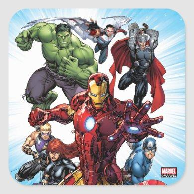 Avengers Classics | Iron Man Leading Avengers Square Sticker